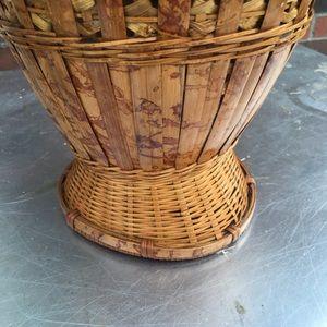 Vintage Accents - Vintage Boho Wicker Rattan Woven Basket Vase Decor